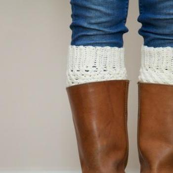 Crochet Boot Cuffs in Vanilla Cream - Boot Toppers - Leg Warmers
